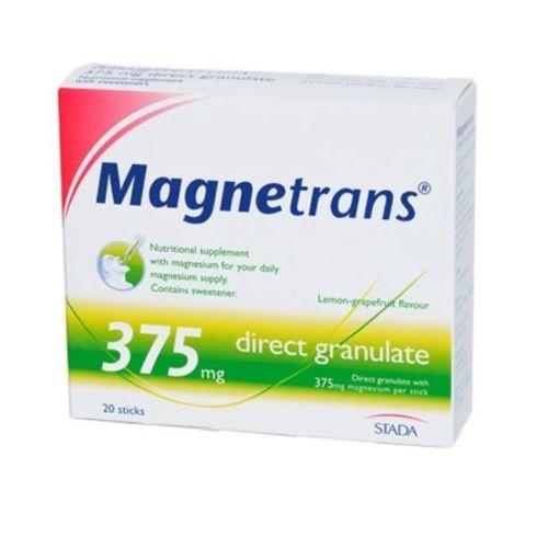 Magnetrans 375 direkt oblik u granulama, bez šećera, pomaže kod stanja povećanog stresa i umora, nerve napetosti, nesanice,migreme, grčeva u mišićima, aritmija, trudnicama, dojiljama