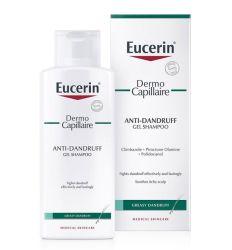 Eucerin Dermo Capillaire gel šampon protiv masne peruti namenjen je za osetljivu kožu glave praćenu masnom peruti
