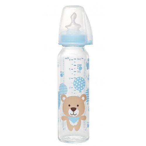 NIP staklena flašica sa silikonskom cuclom za mleko 250ml, 0-6- sifra:0190091