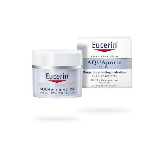Eucerin AQUAporin Active UVA+SPF25 zaštitna krema namenjena jeza intenzivnu i dugotrajnu hidrataciju za normalan tip kože lica, vrata i dekoltea